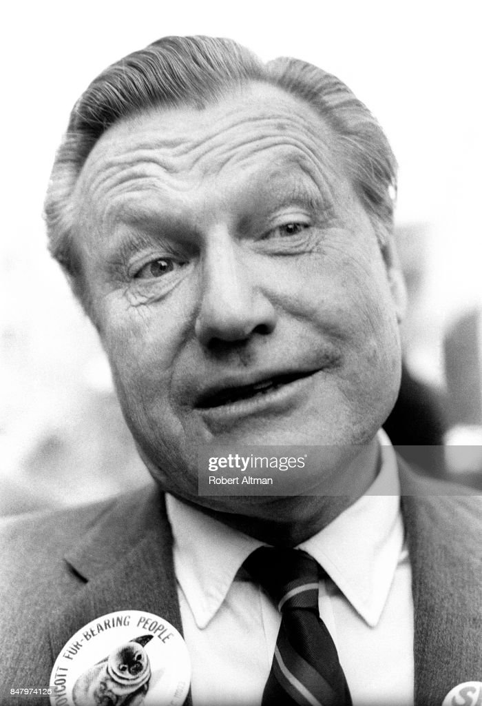 New York Govenor Nelson Rockefeller (1908-1979) speaks to the media as he announces The first Earth Day on April 22, 1970 in New York, New York.