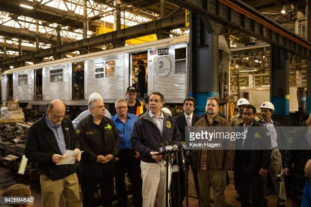 New York Governor Andrew Cuomo addresses the press following a tour of the MTA's 207th St overhaul shop and train yard on April 6 2018 in New York...