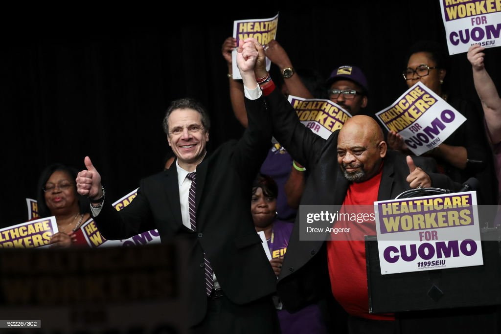 New York Governor Cuomo Attends Union Rally At Madison Square Garden