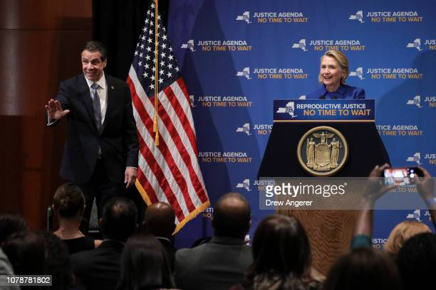 New York Governor Andrew Cuomo and former Secretary of State Hillary Clinton take the stage to discuss reproductive rights at Barnard College January...