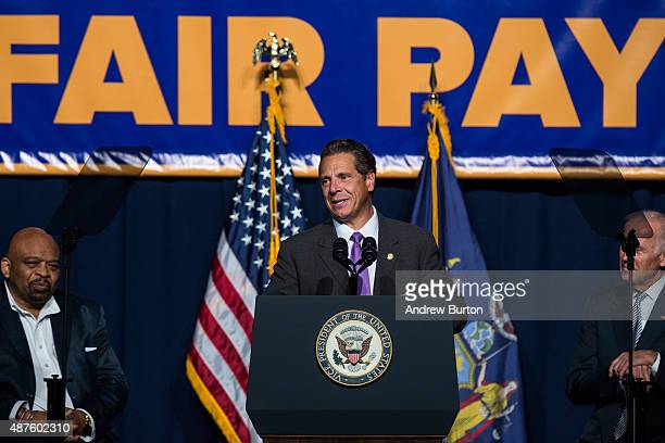 New York Governor Andrew Cuomo announces his support to raise the minimum wage for the state of New York to $15 per hour on September 10 2015 in New...