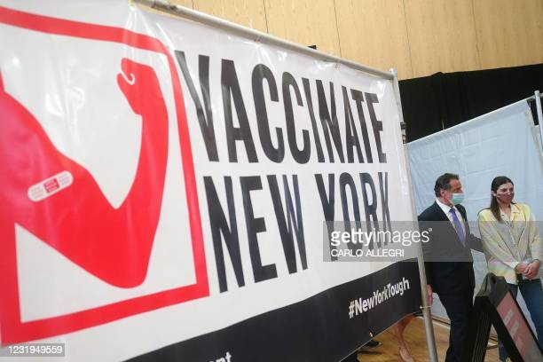 New York Governor Andrew Cuomo arrives at an event with his daughter Michaela Kennedy-Cuomo event amid the coronavirus pandemic in the Bronx borough...