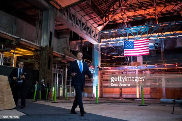 New York Governor Andrew Cuomo arrives for a press event to mark the beginning of the second round of renovations at the future site of the Moynihan...