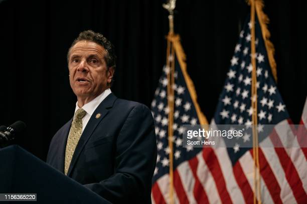 New York Governor Andrew Cuomo delivers a speech on the importance of renewable energy and signs the Climate Leadership and Community Protection Act...