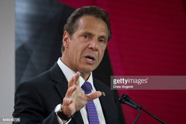 New York Governor Andrew Cuomo delivers remarks during a dedication ceremony to mark the opening of the new campus of Cornell Tech on Roosevelt...
