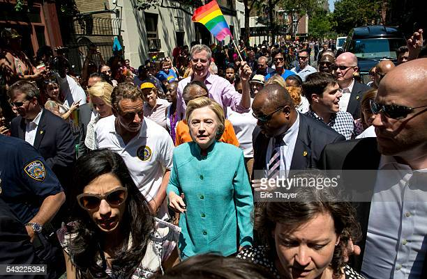 New York Governor Andrew Cuomo former Secretary of State and Democratic Presidential candidate Hillary Clinton and New York mayor Bill de Blasio...