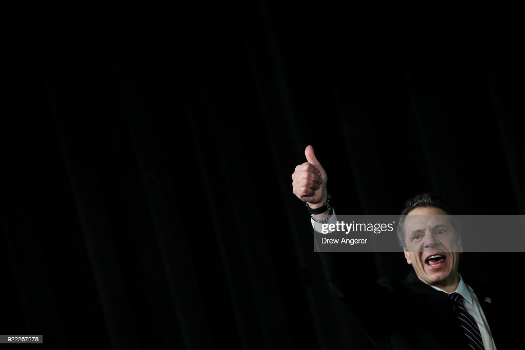 New York Governor Andrew Cuomo gives a thumbs up after speaking at a healthcare union rally at the Theater at Madison Square Garden, February 21, 2018 in New York City. The rally was organized by 1199SEIU United Healthcare Workers East, the largest healthcare union in the United States.