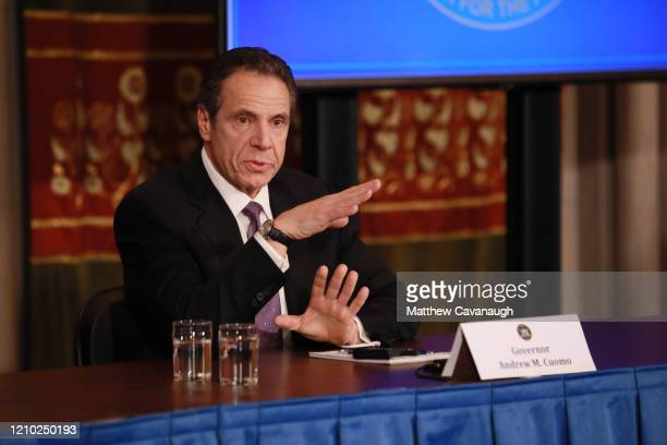 New York Governor Andrew Cuomo gives his a press briefing about the coronavirus crisis on April 17, 2020 in Albany, New York.Cuomo along with...