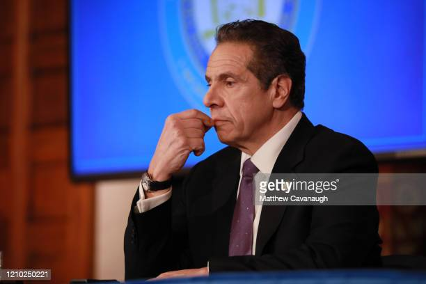 New York Governor Andrew Cuomo gives his a press briefing about the coronavirus crisis on April 17 2020 in Albany New YorkCuomo along with governors...