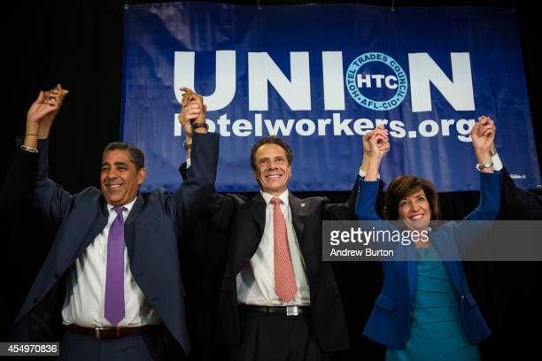 New York Governor Andrew Cuomo his choice for Lieutenant Governor former congresswoman Kathy Hochul and New York State Senator Adriano Espaillat...