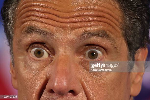 New York Governor Andrew Cuomo holds a news conference at the National Press Club May 27, 2020 in Washington, DC. Following a closed-door meeting...