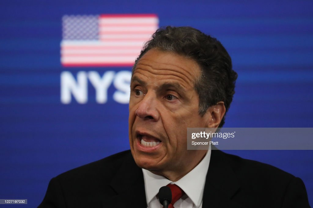 NY Gov. Cuomo Holds Daily Briefing From Re-Opened NY Stock Exchange : News Photo