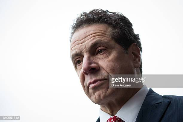 New York Governor Andrew Cuomo looks on during a press conference following a Long Island Railroad train accident at Atlantic Terminal January 4 2017...