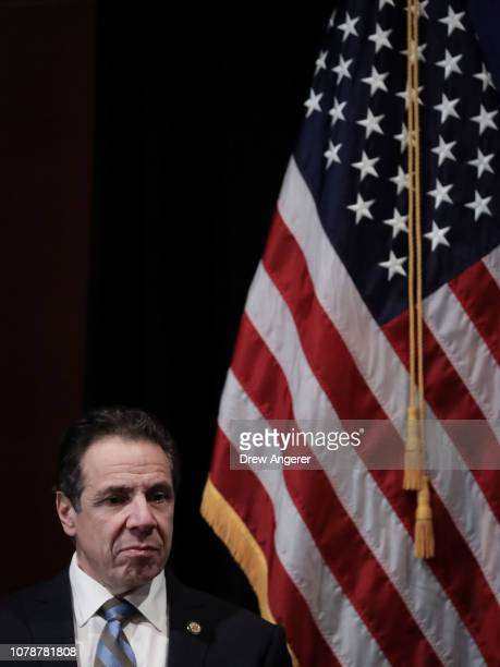 New York Governor Andrew Cuomo looks on during an event to discuss reproductive rights at Barnard College January 7 2019 in New York City The two...