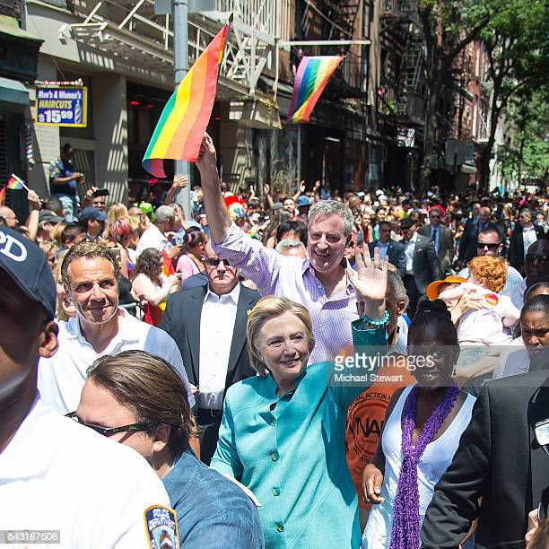 New York Governor Andrew Cuomo New York City Mayor Bill de Blasio Democratic Presidential candidate HIllary Clinton and Chirlane McCray attend the...