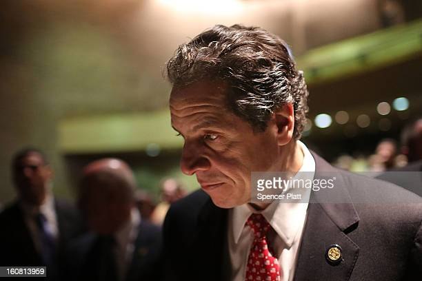 New York Governor Andrew Cuomo pauses after delivering his State of the State and budget proposals at The City College of New York on February 6 2013...