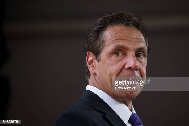 New York Governor Andrew Cuomo pauses while he delivers remarks during a dedication ceremony to mark the opening of the new campus of Cornell Tech on...
