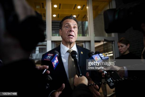 New York Governor Andrew Cuomo speaks about a suspicious package situation at his office in Midtown Manhattan October 24 2018 in New York City CNN's...