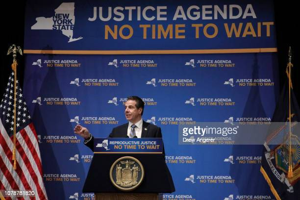 New York Governor Andrew Cuomo speaks about reproductive rights at Barnard College January 7 2019 in New York City The two Democrats shared the stage...