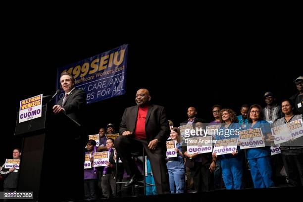 New York Governor Andrew Cuomo speaks as 1199SEIU United Healthcare Workers East President George Gresham looks on at a healthcare union rally at the...