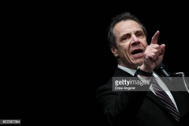 New York Governor Andrew Cuomo speaks at a healthcare union rally at the Theater at Madison Square Garden February 21 2018 in New York City The rally...