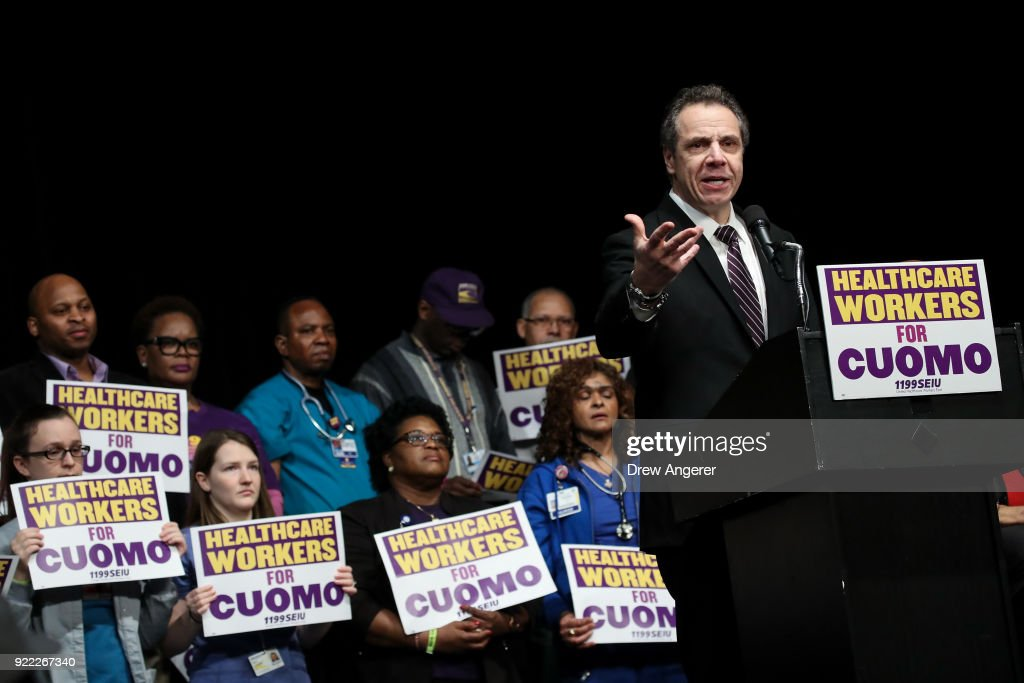 New York Governor Andrew Cuomo speaks at a healthcare union rally at the Theater at Madison Square Garden, February 21, 2018 in New York City. The rally was organized by 1199SEIU United Healthcare Workers East, the largest healthcare union in the United States.