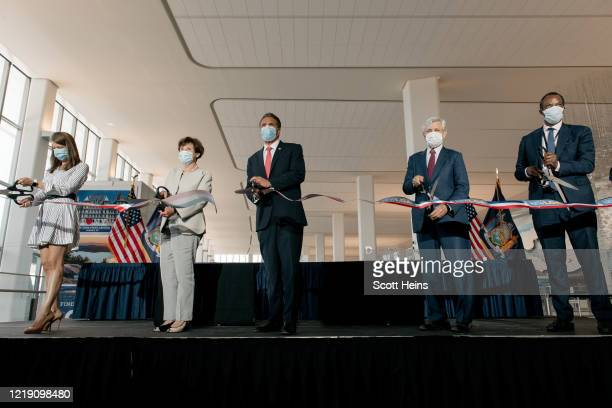 New York Governor Andrew Cuomo speaks at a press conference held in LaGuardia Airport's new Terminal B on June 10, 2020 in New York City. Citing...