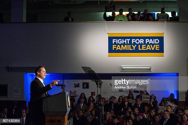 New York Governor Andrew Cuomo speaks at a rally for paid family leave on January 29 2016 in New York City The rally was attended by many union...