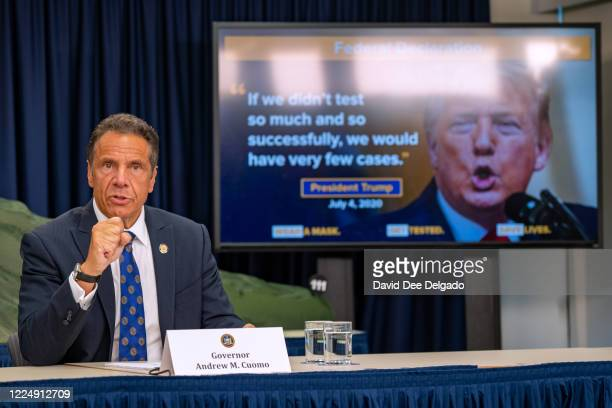 New York Governor Andrew Cuomo speaks during a COVID19 briefing on July 6 2020 in New York City On the 128th day since the first confirmed case in...