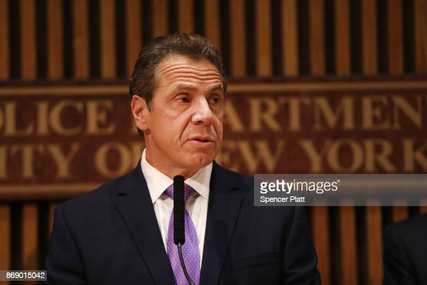 New York Governor Andrew Cuomo speaks during a news conference concerning yesterday's attack along a bike path in lower Manhattan that is being...