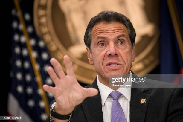 New York Governor Andrew Cuomo speaks during a press conference at his Midtown Manhattan office September 14 2018 in New York City Cuomo discussed...