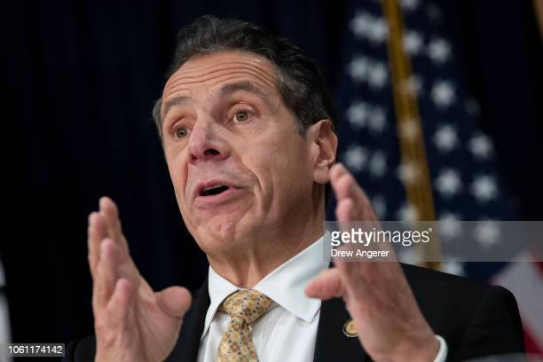 New York Governor Andrew Cuomo speaks during a press conference to discuss Amazon's decision to bring a new corporate location to New York City...