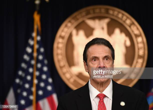 New York Governor Andrew Cuomo speaks during a press conference to discuss the first positive case of novel coronavirus or COVID-19 in New York State...