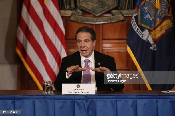 New York Governor Andrew Cuomo speaks during his daily news conference amid the coronavirus outbreak on March 20 2020 in New York City Cuomo ordered...