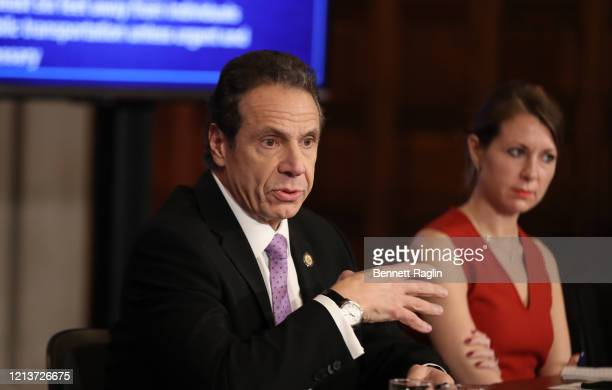 New York Governor Andrew Cuomo speaks during his daily news conference with Secretary to the Governor Melissa DeRosa on March 20 2020 in New York...