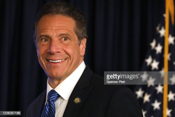 New York Governor Andrew Cuomo speaks to members of the media at a news conference on May 21, 2020 in New York City. While the governor continued to...