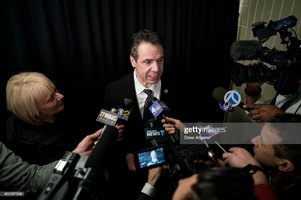 New York Governor Andrew Cuomo speaks to reporters after a healthcare union rally at the Theater at Madison Square Garden, February 21, 2018 in New York City. The rally was organized by 1199SEIU United Healthcare Workers East, the largest healthcare union in the United States.