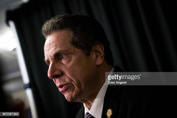 New York Governor Andrew Cuomo speaks to reporters after a healthcare union rally at the Theater at Madison Square Garden February 21 2018 in New...