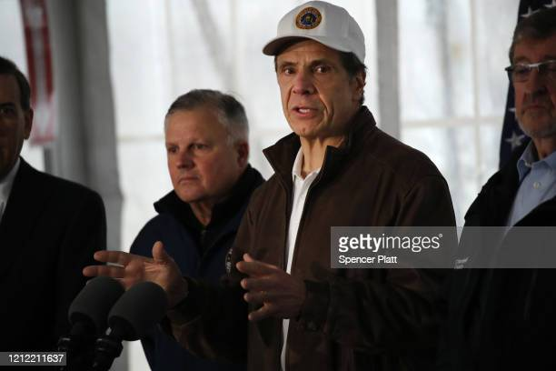 New York Governor Andrew Cuomo speaks to the media and tours a newly opened drive through COVID19 mobile testing center on March 13 2020 in New...