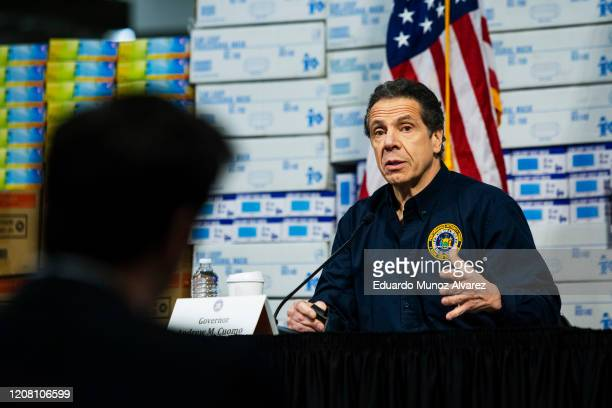 New York Governor Andrew Cuomo speaks to the media at the Javits Convention Center which is being turned into a hospital to help fight coronavirus...
