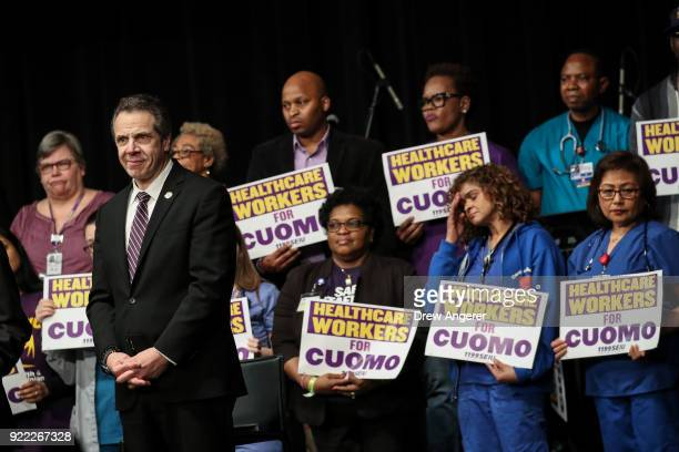 New York Governor Andrew Cuomo waits to speak at a healthcare union rally at the Theater at Madison Square Garden February 21 2018 in New York City...