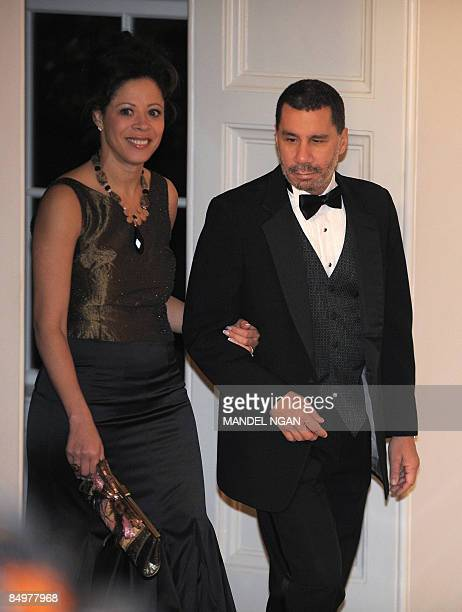 New York Governor David A. Paterson and his wife Michelle Paterson arrive at the Book Seller�s Entrance on February 22, 2009 at the White House for...