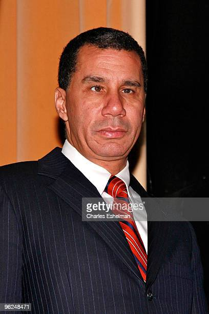 New York Governor David Paterson attends the Answering The Call Fundraiser for Haiti earthquake victims at M2 Ultra Lounge on January 28, 2010 in New...