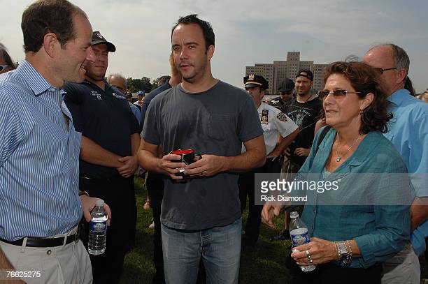 New York Governor Eliot Spitzer, Artist Dave Matthews and Farm Aid Director Carolyn Mulgar Backstage at Farm Aid 2007 at ICAHN Stadium on Randall's...