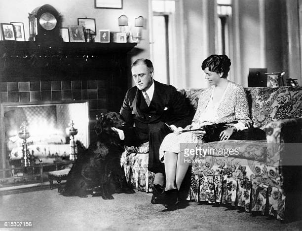 New York Governor Franklin Delano Roosevelt and his wife Eleanor with their two dogs