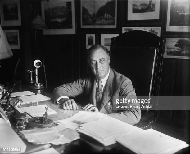 New York Governor Franklin Roosevelt Portrait at Desk Albany New York USA Harris Ewing 1932