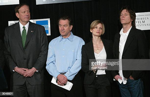 New York Governor George Pataki actor Robert De Niro actress Kyra Sedgwick and actor Kevin Bacon attend the 2004 Tribeca Film Festival kickoff media...
