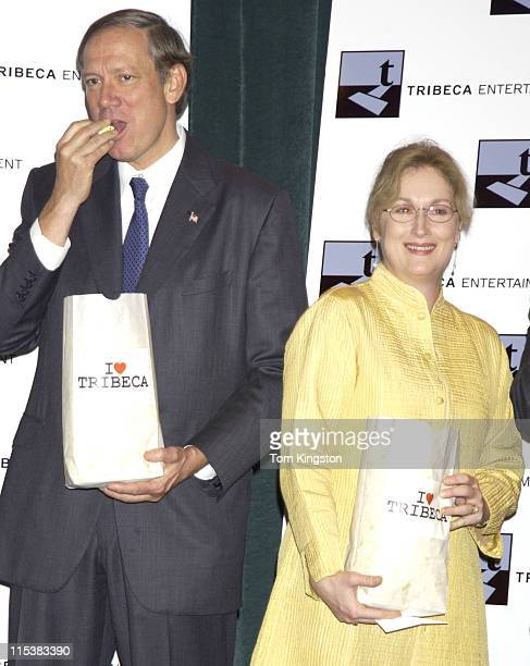 New York Governor George Pataki and Meryl Streep during Press Conference Announcing the Creation of the Tribeca Film Festival in New York City New...