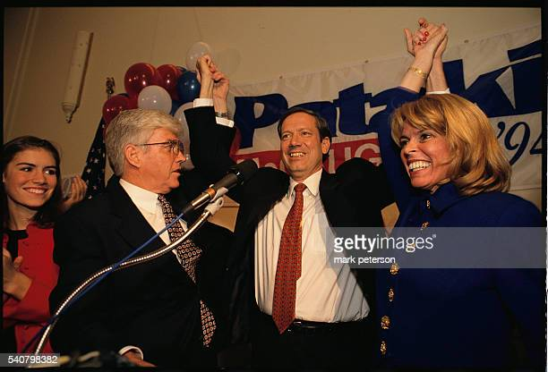 New York Governor George Pataki attends a rally at the National Federation of Republican Women's Club in Manhattan with Jack Kemp and running mate...