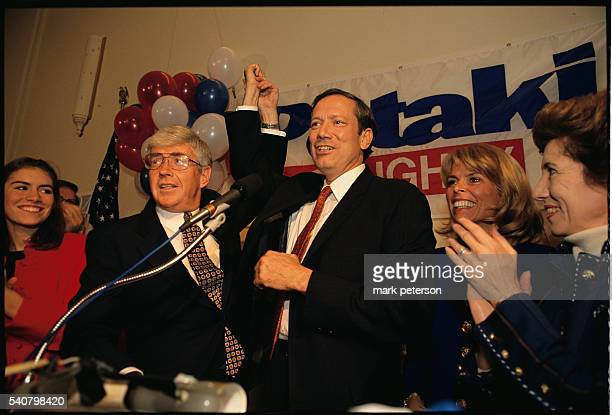 New York Governor George Pataki attends a rally at the National Federation of Republican Women's Club in Manhattan with Jack Kemp running mate Betsy...